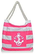 Pier 17 Mariner Canvas Beach Bag Tote ( Pink with Anchor Print )