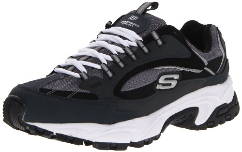 Skechers Sport Men's Stamina Nuovo Lace-Up Sneaker,Navy/Black,9 XW US