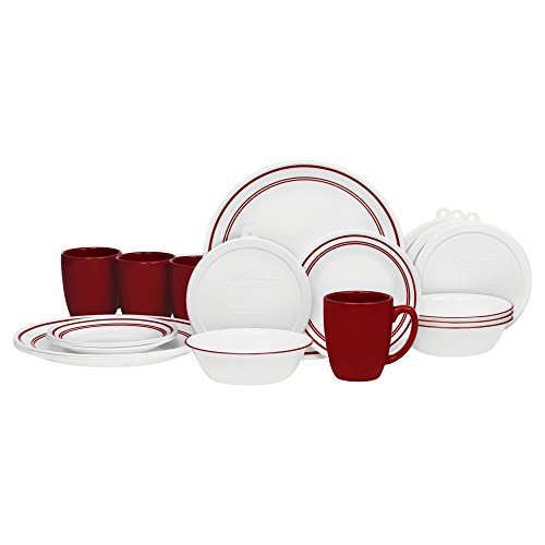 Corelle 20 Piece Livingware Dinnerware Set with Storage,Classic Cafe Red, Service for 4 (Vitrelle Corelle compare prices)