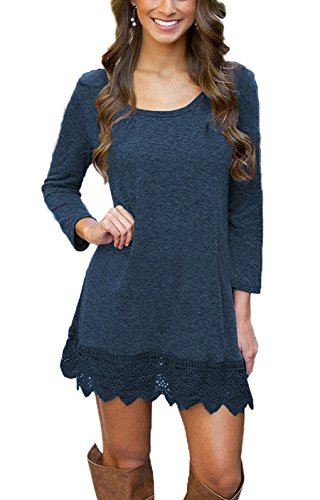 MiYang-Womens-Long-Sleeve-A-line-Lace-Stitching-Trim-Casual-Dress