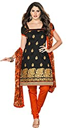 Luxerium Women'S Chanderi Black Unstiched Dress Material