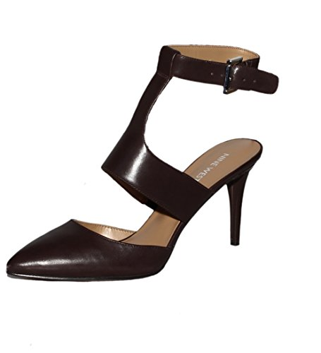 Nine West Dark Brown Powla Ankle Strap Pumps 5M