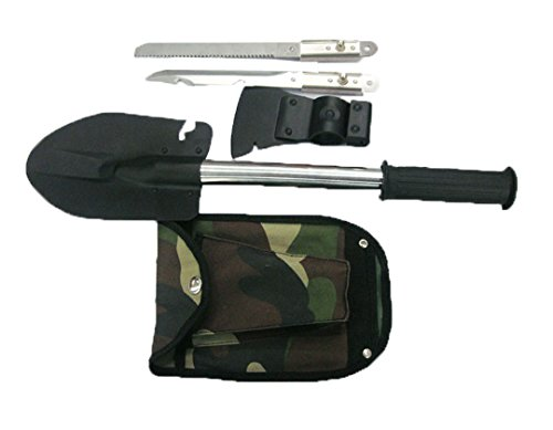 Layopo Military Use Stainless Steel Emergency Tool Kit Set Shovel Axe Knife Saw With Layopo'S Carabiner front-896726