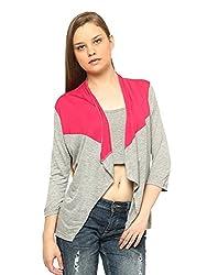Vvoguish Viscose Pink/Color Blocking Shrug-VVSHG60235PNKGMEL-XL