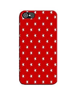 EU4IA Red Stars Pattern MATTE FINISH 3D Back Cover Case For iPhone 4s - D415
