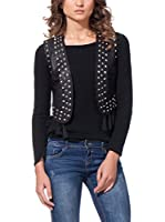 DROLE DE COPINE Chaleco Biker Gilet With Tacks And Fringes (Negro)