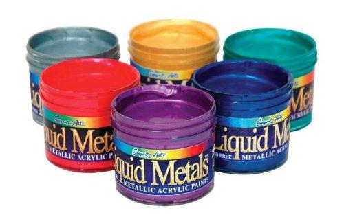 Sargent Art Liquid Metal Premium Acrylic Paint Set, 4 oz Jar, Assorted Metallic Colors, Set of 6