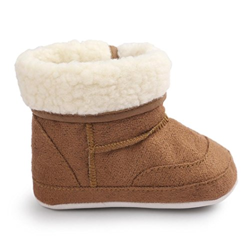 GBSELL New Casual Baby Toddler Winter Warm Sole Snow Boots Soft Crib Shoes (Coffee, 0~6 Month)