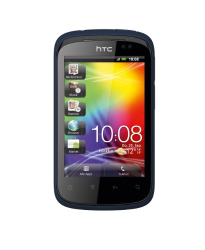 HTC Explorer Smartphone (8,1 cm (3.2 Zoll) Display, Touchscreen, 3,15 MP Kamera, Android 2.3 OS) elegant blau