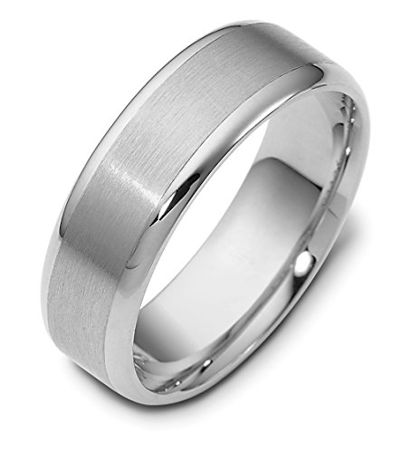 Where To Buy Mens 14K White Gold 7MM Satin And Polished Wedding Band