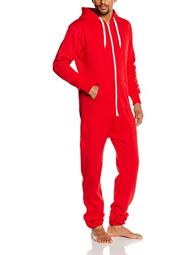Urban Classics - Sweat Jumpsuit, Tuta intera Uomo, Multicolore (red/wht 202), X-Large