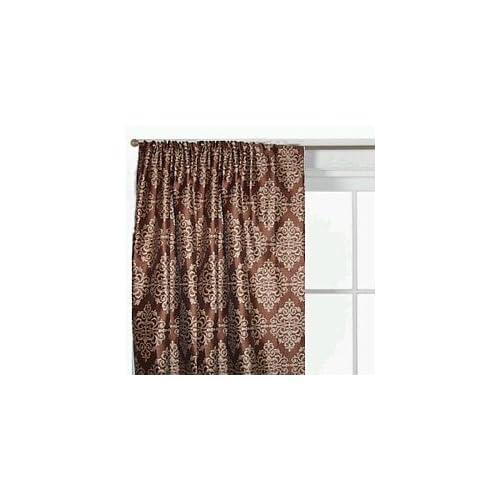 JC Penney Jacquard Floral Curtain Set Savona Brown 95L