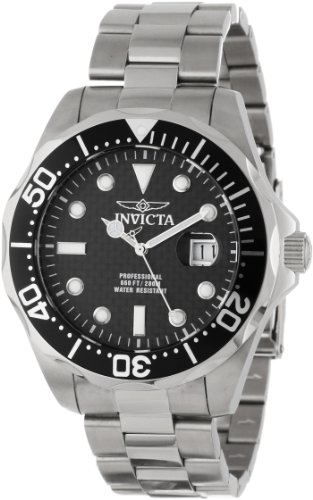 Invicta Men's 12562X Pro Diver Black Carbon Fiber Dial Stainless Steel Watch