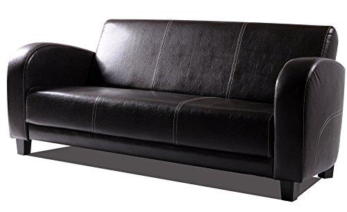 ANTON Sofa 3-Sitzer Antikbraun, Füsse nussbaumfarben