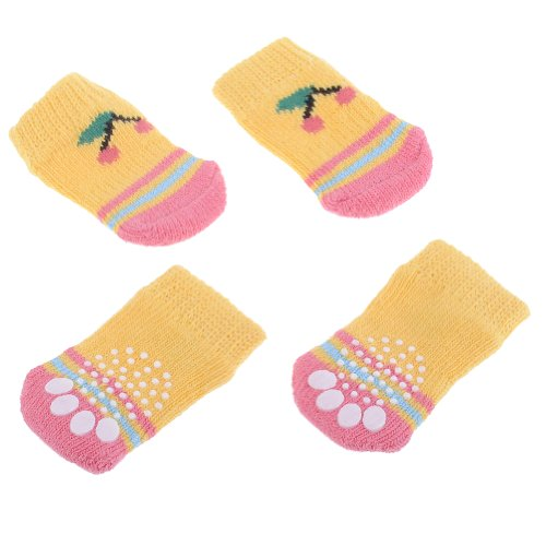 Neewer 4Pcs Yellow Color Indoor Pet Dog Cat Paw Protector Cotton Anti-Slip Warm Knit Weave Lovely Cherry Pattern Sock Skid Bottom Size S front-1029447