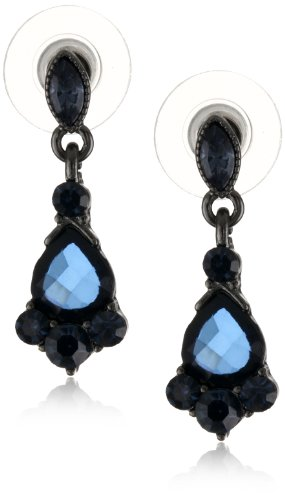 1928 Jewelry Vintage-Inspired Blue Crystal Drop Earrings
