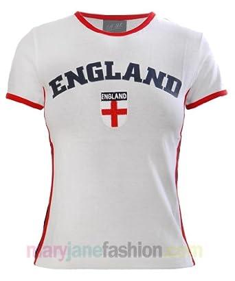 Ladies Womens England Flag No1 Football Top T-Shirt Tee S