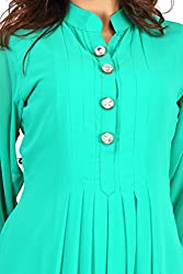 Feather Touch Women's Georgette Kurti (FT3549GR3_Green_42)