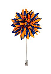 Avaron Projekt Handmade Orange And Royal Blue Striped Flower Lapel Pin/Brooch For Men