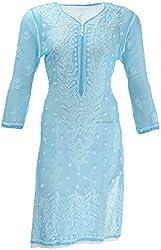 AKS Lucknow Women's Regular Fit Kurti (TK-65_40, BLUE, 40)