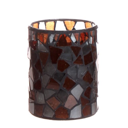 Dfl 3*4 Inch Purple Mosaic Glass With Flameless Led Candle With Timer,Work With 2 Aa Battery