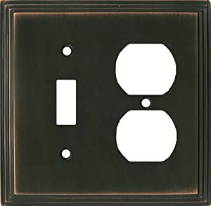 ART DECO STEP Oil Rubbed Bronze Switchplates Outlet Covers, Rocker, GFCI 1 Toggle/Duplex