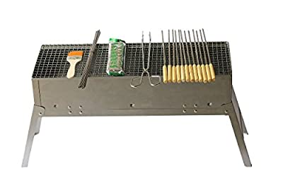 Stainless Steel Party meat Portable BBQ Griller 23-Inch (Charcoal Grill, Yakitori Grill / Kebab Grill / Satay Grill)