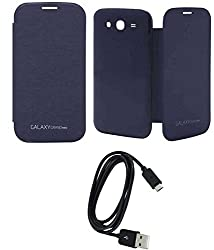 TBZ Premium Flip Cover Case -Pebble Blue for Samsung Galaxy Grand Neo with Data Cable