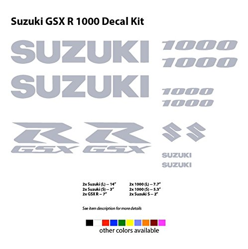 Suzuki Racing GSXR 600 750 1000 Decals (12 pcs set) (GSXR 1000, Silver) (Gsxr Decals compare prices)