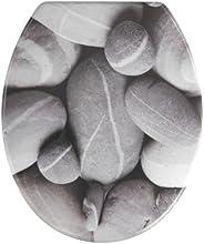 WENKO 19549100 WC-Sitz Stones - rostfreie Edelstahlbefestigung, Kunststoff - Duroplast, 38 x 45 cm, Mehrfarbig