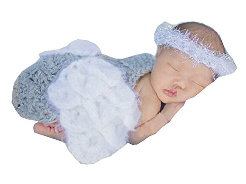 Photography Prop Baby Infant Costume Crochet Knitted Angle Wings Cloak Ring Headband