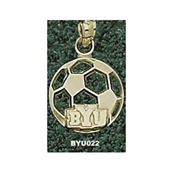 Brigham Young (BYU) Cougars BYU Soccerball Pendant - 14KT Gold Jewelry by Logo Art