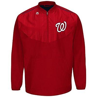 Majestic Washington Nationals Half Zip Cool Base On-Field Training Jacket
