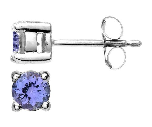 9 ct White Gold Stud Earrings with Tanzanite 0.48 Carat - 4mm*4mm