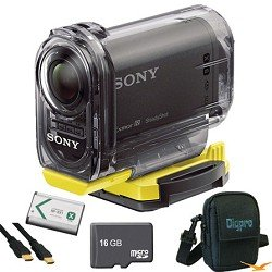 Sony HDR-AS15 Wifi Action Video Camera (Black) Essentials Bundle with 16GB Micro SD Card, Spare Battery, High Speed HDMI Cable, and Padded Case