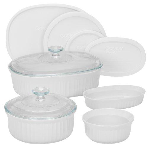 CorningWare 6022156 French 10-Piece Bakeware Set, White