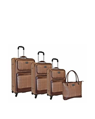 Adrienne Vittadini Croco 4-Piece Luggage Set, Taupe As You See