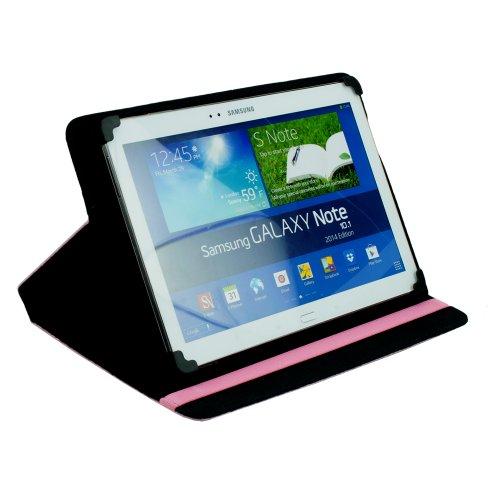 """M0355 Bookstyle Leder PC Tasche Pink Etui Hülle Case Buch 10.1"""" 10,1"""" 10,1 Zoll mit Kletthalterung für Point of View ProTab 3XXL"""