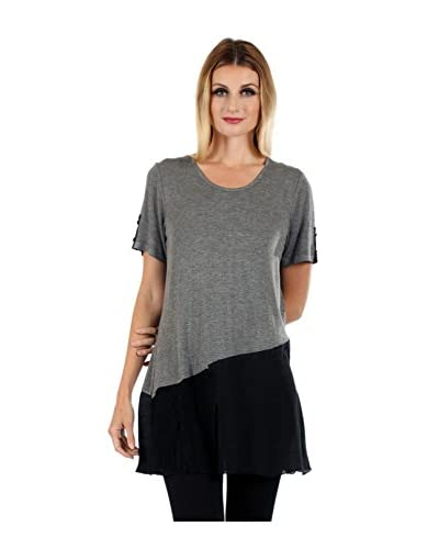 Simply Aster Women's Colorblock Button Accent Short Sleeve Tunic