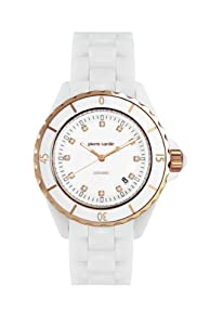 Women's White Ceramic Round Case & Bracelet featuring Cubic Zirconia Stones on Dial Rose Gold Tone Trim. Date Function