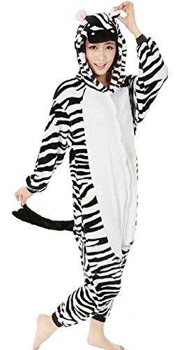 Nicetage Unisex Adult Pajama Onesies Fleece One Piece Halloween Costumes Zebra XL (Zebra Costumes For Adults)