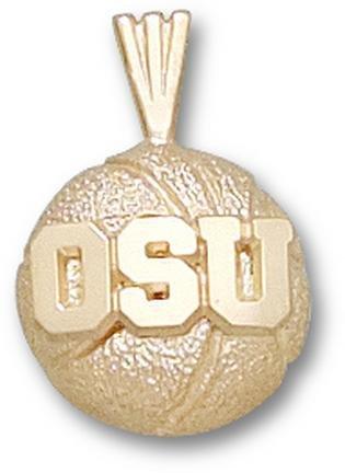 Ohio State Buckeyes OSU Basketball Pendant - 14KT Gold Jewelry by Logo Art