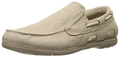 crocs Men's Beach Line Canvas M Boat Shoe, Cobblestone/Tumbleweed, 10 M US