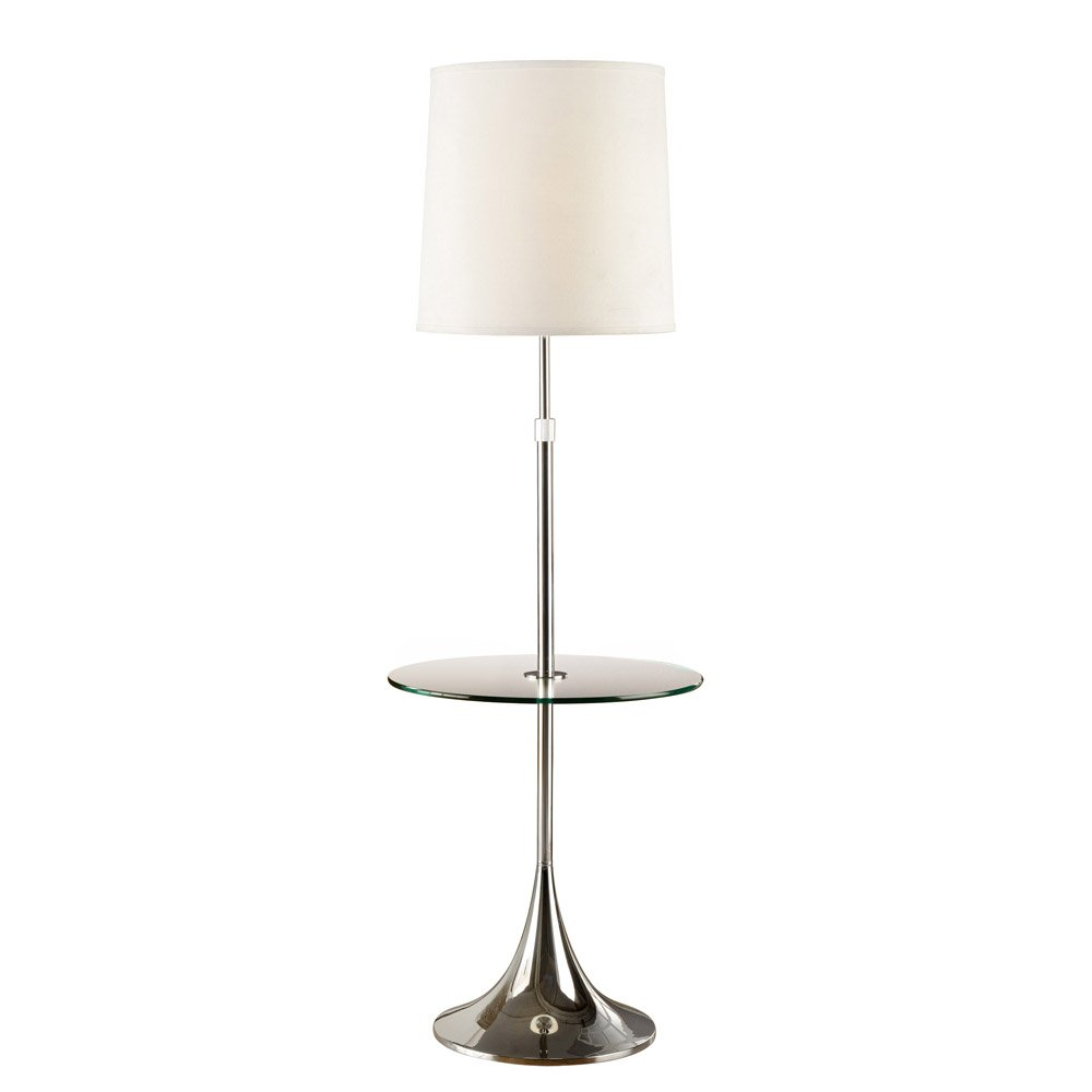 Artiva USA Enzo, Adjustable 52 to 65-inch Modern Chrome Floor Lamp with Tempered Glass Table
