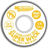 "MG Chemicals 400-NS Series #2 No Clean Super Wick Desoldering Braid, 0.05"" Width x 5' Length"