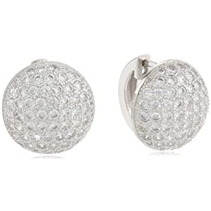 Sterling Silver Simulated Diamond Round Pave Hoop Earrings