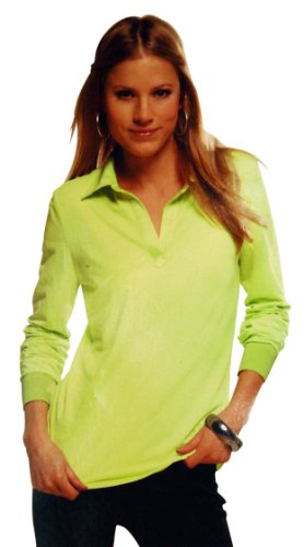 Ladies Viscose Lycra Long Sleeve Polo Shirt With Satin Collar (Lime, Large)