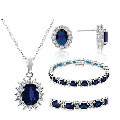 Isady - Jewelry Set - Kate Middleton - Bracelet Earrings and Collier - White Gold plated Rhodium Bonded - Zirkonium Saphire Blue