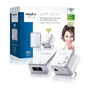 Devolo dLAN 500 WiFi Starter Kit (500 Mbit/s, WLAN Repeater, 1 LAN Port, Kompaktgehäuse, Powerline) weiß