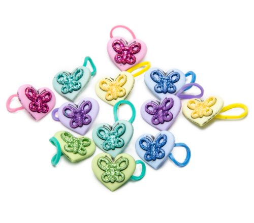U-B Shimmering Butterflies in Hearts (12 Charms) - 1